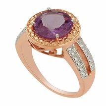 925 Sterling Silver Two Tone Round Amethyst Gemstone Ring US 7.5 SHRI0104 - £23.25 GBP