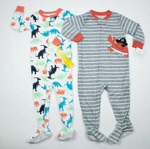 Boys 18M Nwt Pajamas Sleepers Cotton Footed Lot 2 Pj's Carters Dino Crab Pirate - $21.77