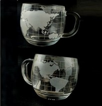 Set of 2 Nestle Nescafe World Map Globe Etched Clear Glasses Coffee Cup ... - $17.32