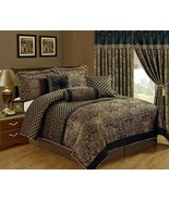 7-Piece Lisbon Jacquard Floral Comforter Set California King Black/Gold - $85.99