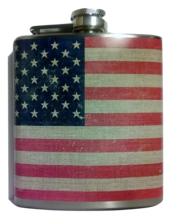 6 oz American Flag Stitch Hip Flask - $11.46
