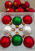 """Lot 14 Shiny Frosted Matte Glass Ball Ornaments Red White Green 3"""" - $5.64"""
