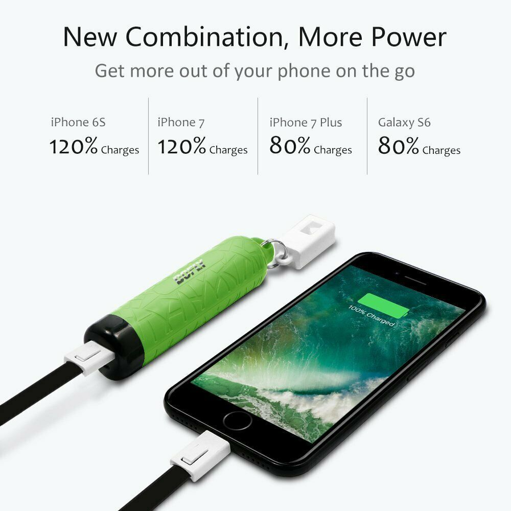 DOFLY Compact Portable Phone Charger 3400mAh External Battery with Keychain New