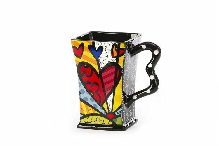 Romero Britto Ceramic Square A New Day 14 oz Gift Box #3303012 Collectible Gift