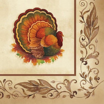 Thanksgiving Traditional Feast Turkey Beverage Napkins 16 ct Party Banquet - $3.32