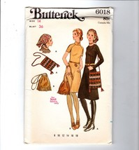 1960s Butterick Boho Mod Knit A-Line Dress Body Fitting Pattern Hat Bag ... - $10.40