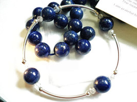 Lapis Lazuli and Sterling Silver Metaphysical Blessings Bracelet- Lapiz ... - $25.00
