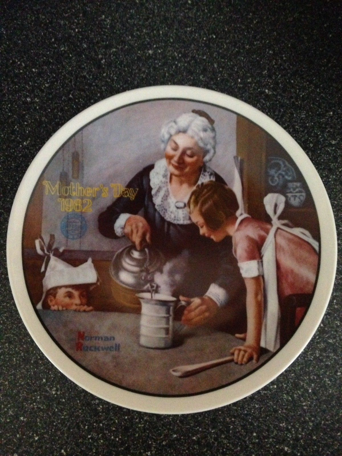Norman Rockwell Mother's Day 1982 Collector Plate The Cooking Lesson #8880B LE - $14.99