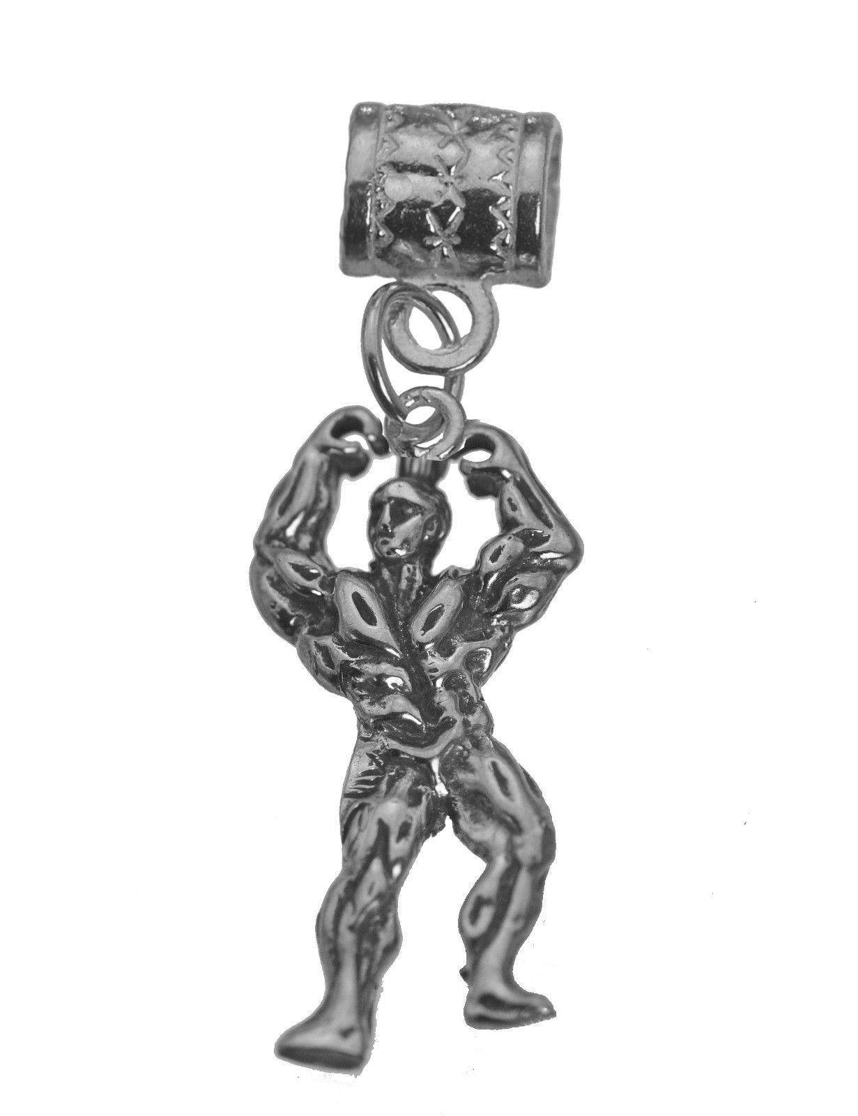 Primary image for Bodybuilding contest Muscle Ripped Flexing Sterling silver Charm bead olympia