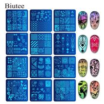 Biutee 6*6cm Square Nail Stamping Plates Lace Flower Animal Pattern Nail... - $8.36