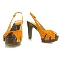 Sergio Rossi orange snakeskin wooden heel sandals w. ankle strap sz 36, ... - $212.03