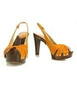 Sergio Rossi orange snakeskin wooden heel sandals w. ankle strap sz 36, ... - $212.03