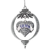 Inspired Silver Iowa Pave Heart Holiday Christmas Tree Ornament With Cry... - $14.69