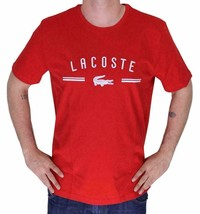 LACOSTE EMBROIDERED LOGO MEN'S RED PREMIUM COTTON CREW NECK SHIRT T-SHIRT - L