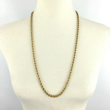 MONET vintage gold-tone twisted rope necklace - signed heavyweight thick chain - $27.00