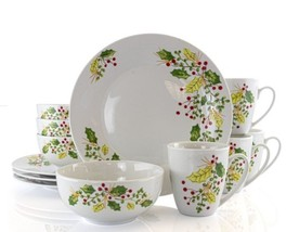Gibson Home Holiday Holly 12 Piece Fine Ceramic Dinnerware Set - $89.99