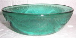 "Forte Crisa Forest Green Collectible Glass Medium Bowl 9 1/2"" Petal Pattern - $12.99"