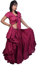 Burgundy Jaipur Belly Dancers 25 yard Cotton Skirt - sariskirts - $33.70
