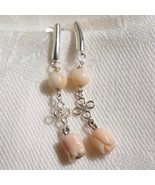 Antique Angelskin Angel Skin Coral Carved Flower Bridal Drop Dangle Earr... - $90.00