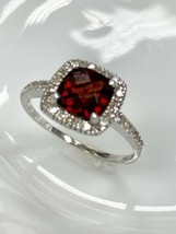 Ema Garnet Ring with Diamond in 14K White Gold Sz 8 - $214.45
