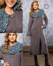 Z732 Crochet PATTERN ONLY Riverstone Collard Coat Dramatic Textured Pattern - $9.50