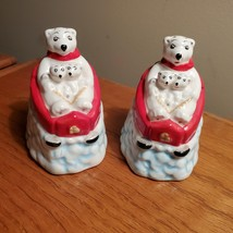 Salt and Pepper Shakers, ceramic Polar Bear, Coca Cola Salt and Pepper - $17.99