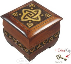 Modern Sailor Celtic Knot and Tribal Heart Handmade Box with Lock and Key  - $44.99