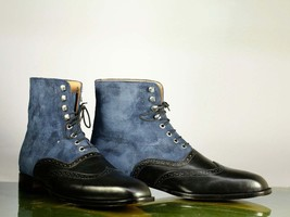 Handmade Black Leather & Blue Suede High Ankle Lace Up Wing Tip Boots For Men image 4