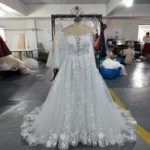 Vogue Fashion Pearl Appliques Lace Floral O-neck Cap Sleeve Backless Bridal Gown image 4