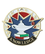 Lamp of Knowledge USA Sport Medal [2 inch] - Silver/Red White and Blue - $2.50