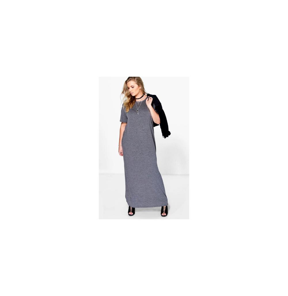 Boohoo Plus Elisa T-shirt Maxi Dress Charcoal Size US 12 NWT