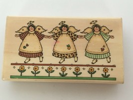 Uptown Rubber Stamps Sandi Gore Evans Three Patchwork Angels County Sunf... - $4.99