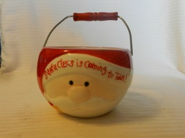 Santa Claus Is Coming To Town Round Red & White Ceramic Candy Bowl With ... - $22.28