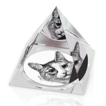 "Peeping Cat Illustrated Animal Art 2"" Crystal Pyramid Paperweight - $15.99"