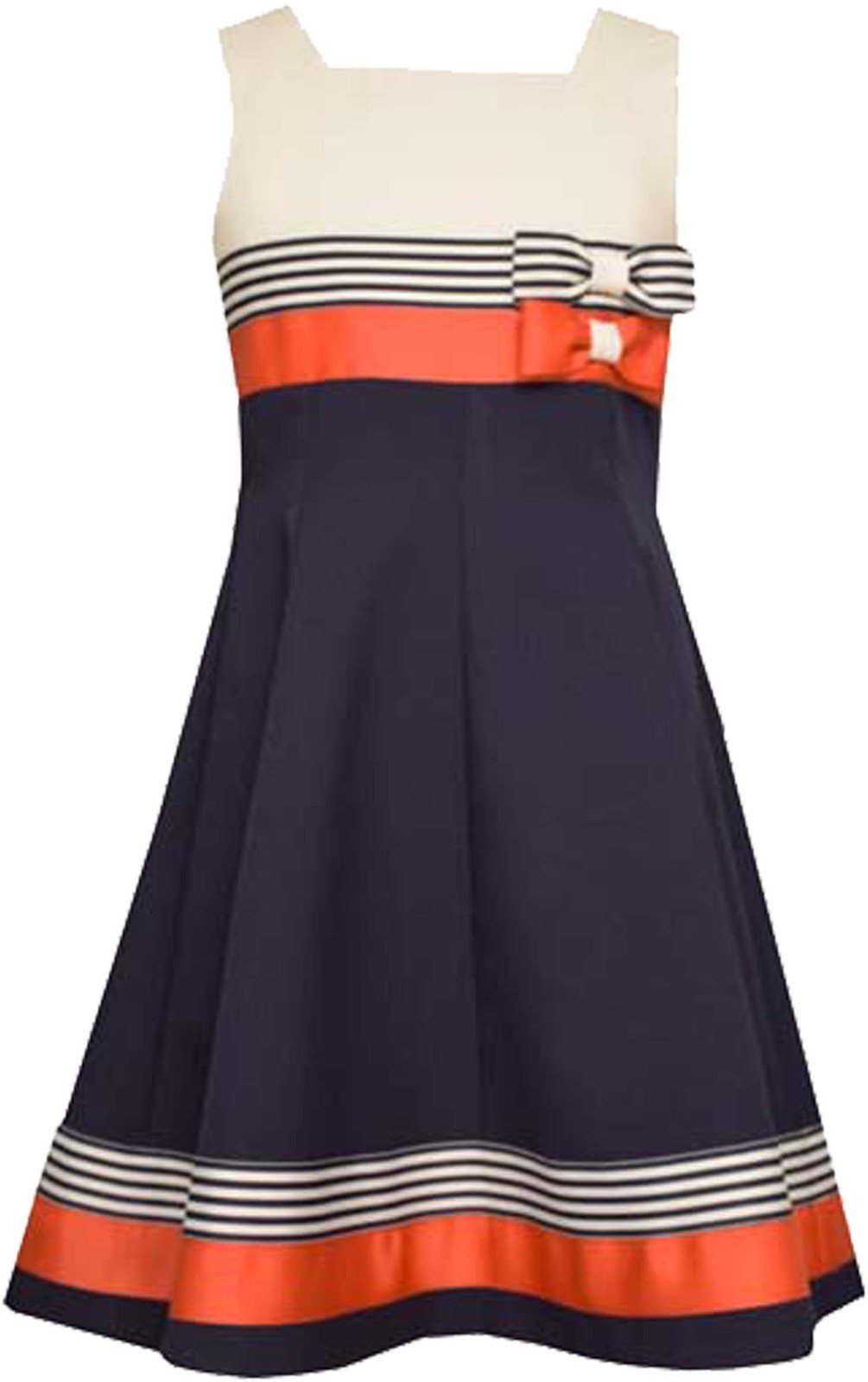 Bonnie Jean Big Girl Tween 7-16 Red White Blue Double Bow Fit Flare Dress