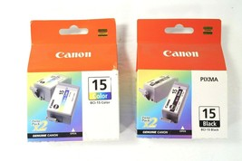 Set Of Canon PIXMA Twin Packs Genuine 15 Color & Black Tanks BCI-15 (4 Refills) - $12.59