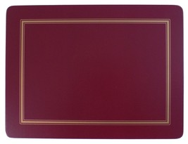 SET OF 6 BURGUNDY GOLD BORDERED CLASSIC CORK BACKED PLACEMATS 30.5 X 23 ... - $31.66