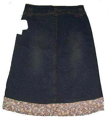 Gas Dark Blue Denim Stretch Skirt with Border Floral Print NWT Sz 5 - $28.49