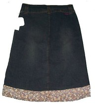 Gas Dark Blue Denim Stretch Skirt with Border Floral Print NWT Sz 5 - $28.49