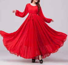 Lady Plus Size Long Chiffon Dress Oversized Summer Holiday Dress,Long Sleeve,Red image 1