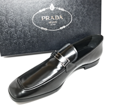 PRADA PLAQUE LOGO BLACK LEATHER  DRIVER MOCCASIN SLIP-ON LOAFER SHOES BR... - $523.00+