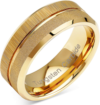 100S JEWELRY Tungsten Rings For Men Wedding Bands Gold Sandblast Brushed... - $56.52