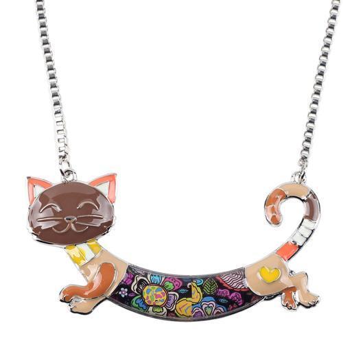 Bonsny Cute Happy Enamel Ladies Cat Themed Necklace / Choker image 3