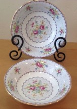 Royal Albert Petit Point Set Of 2 Coupe Soup Cereal Bowls Needlepoint En... - $51.38