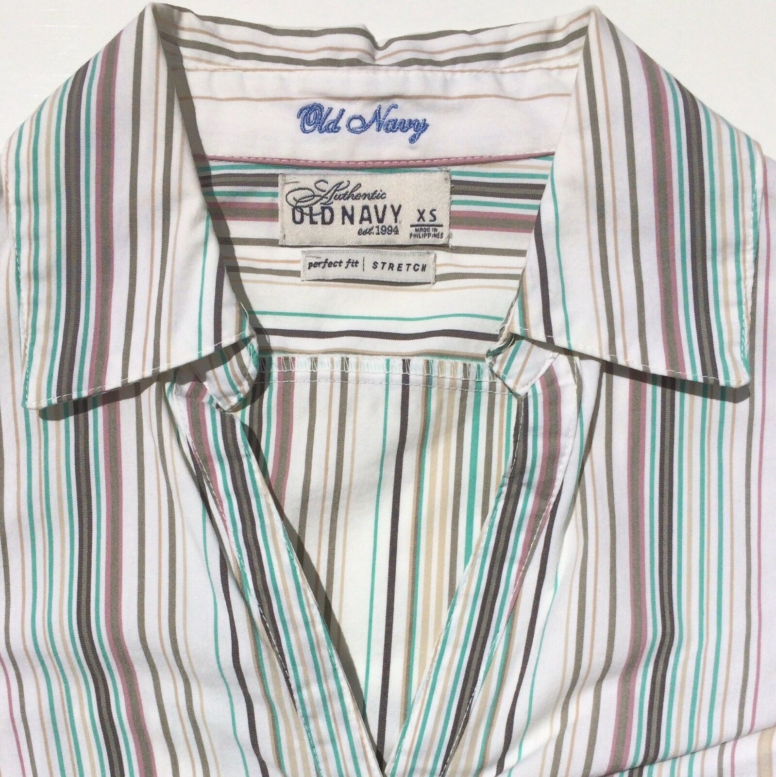 lot 2 dress shirts button 3/4 sleeve fitted stripe Old Navy size XS Express sz 2 image 11