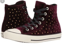 Converse Chuck Taylor All Star Sangria Velvet Studs High Top Sneakers Si... - $78.21