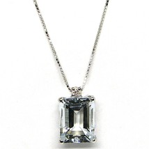 Necklace with Pendant White Gold 750 18K, Aquamarine Cut Emerald, Diamond - $251.09+