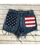 Frayed Patriotic Flag Vintage Cut-Off Shorts 30XL - $19.39