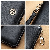 LAORENTOU Women's Genuine Leather Long Wallet Clutch Purse for Women Black image 4