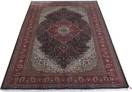 Dark Blue Shiny Strong Cotton Silk Persian Design 6x9 Indian Kashmir Are... - $574.01